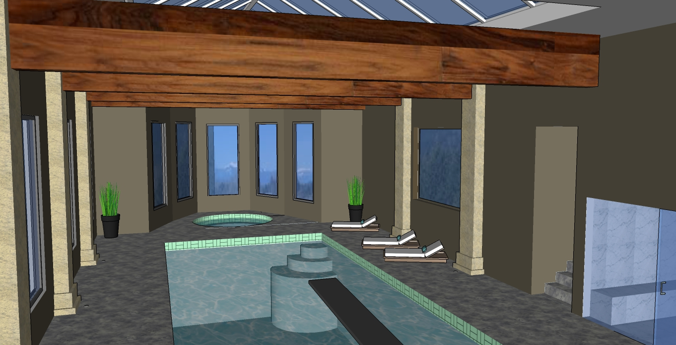 Hatzik lake estate pool room with steamroom and view of lake