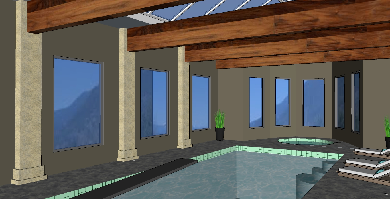Hatzik lake estates pool room perspective with lake view